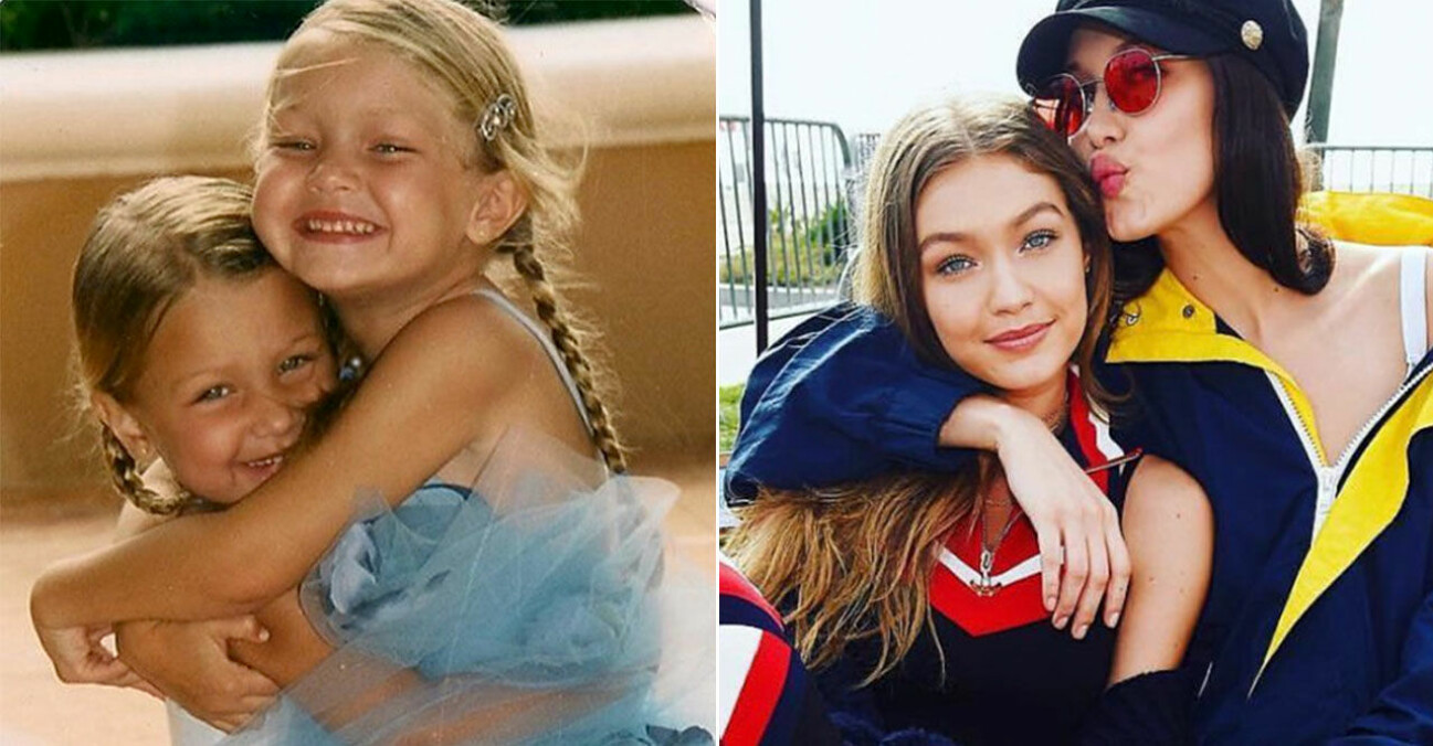 Gigi och Bella Hadid som barn och vuxna