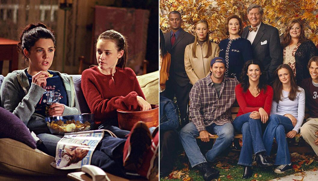 Lorelai och Rory i soffan samt hela casten