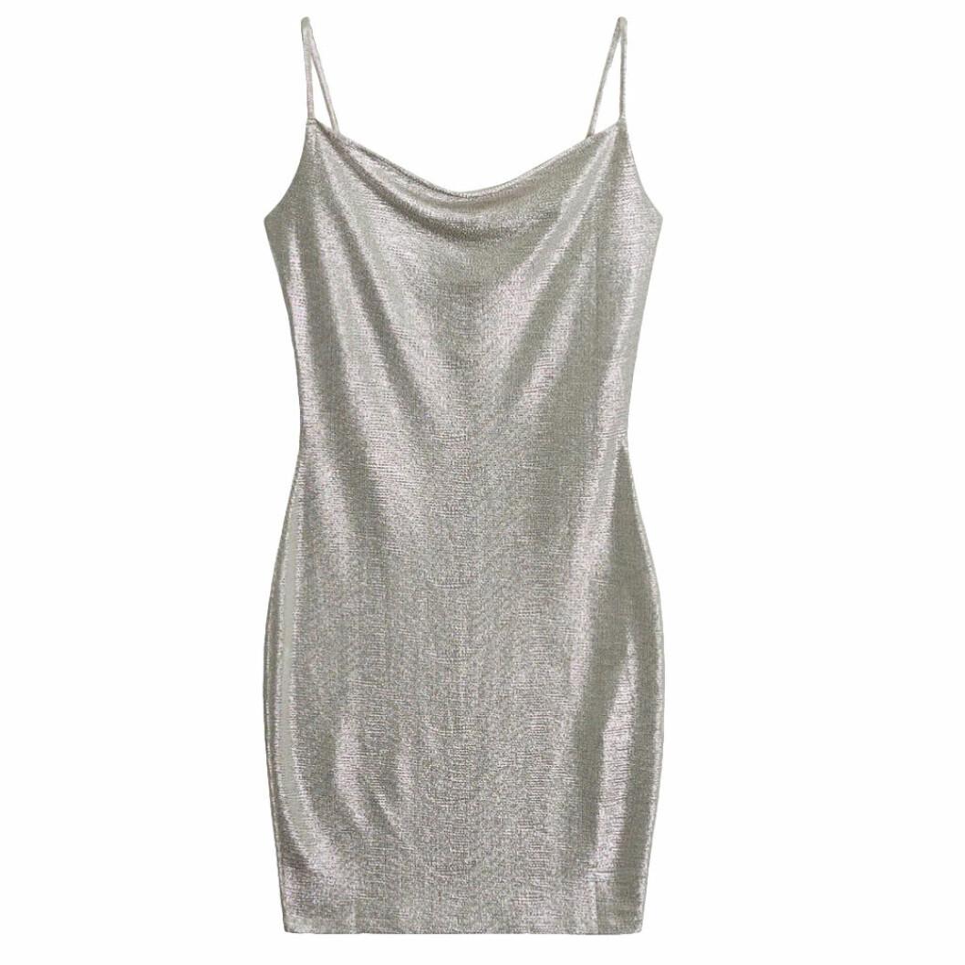 Silvrig glitterklänning från Gina tricot