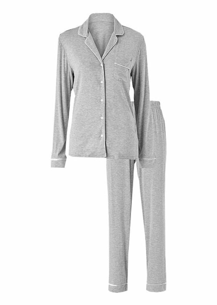 grå pyjamas bomull