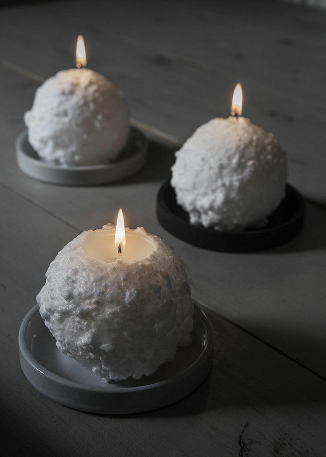 Snöbollsformade ljus från Granit, julen 2018