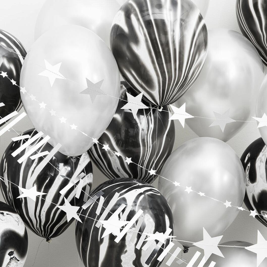 Girlanger i vitt till jul och nyår