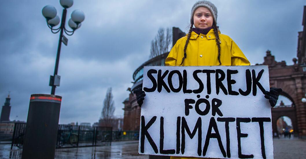 Greta Thunberg blev känd för sin klimatstrejk 2018