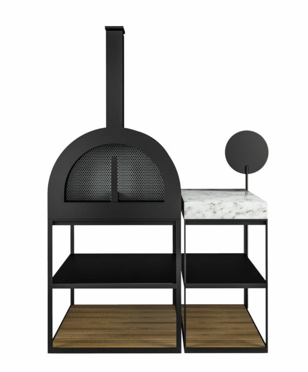Exklusiv, stol grill med sidodel med stor marmorskiva på