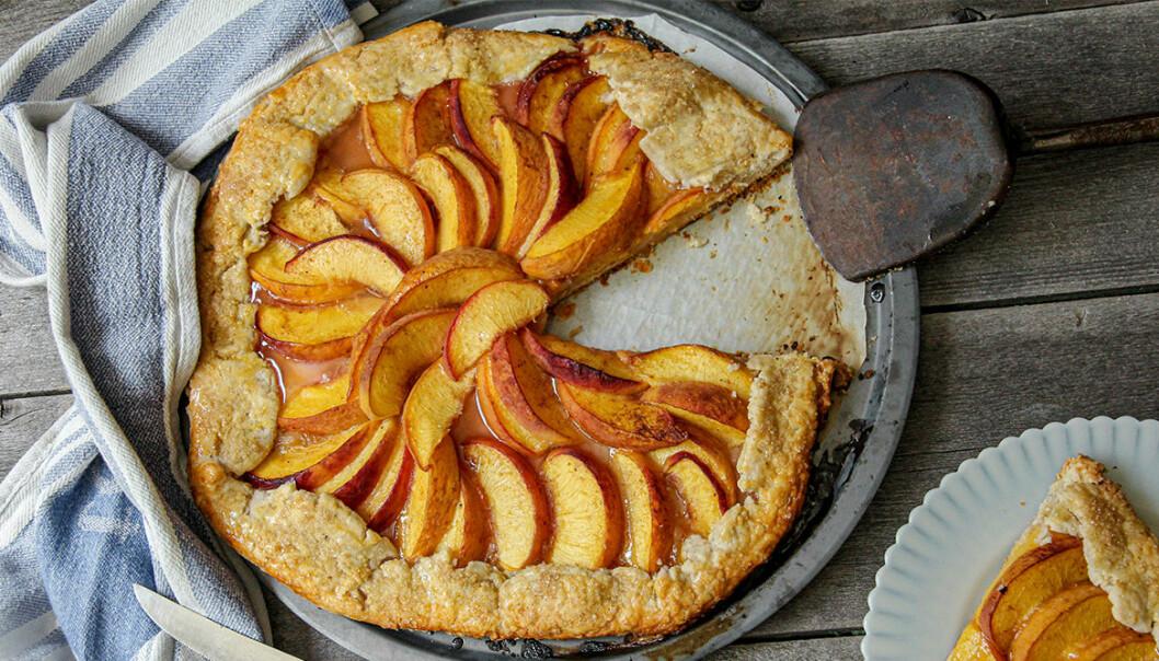 Recept på grillad persikogalette
