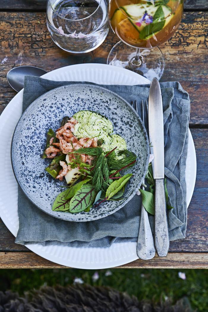 Bjud på grillad sparris med räkor och syrad grädde