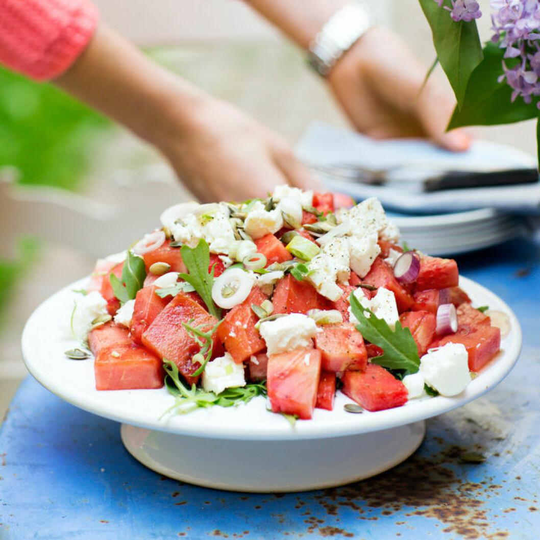 Recept på grillad vattenmelon med fetaost
