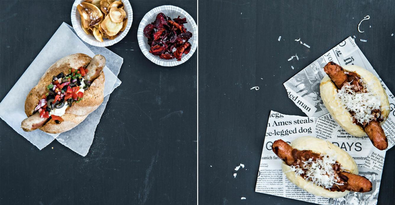 Grillkorv med gourmet-topping