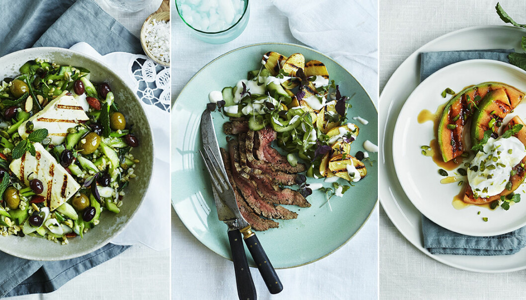 Recept grill, halloumi, kött, potatis, melon.