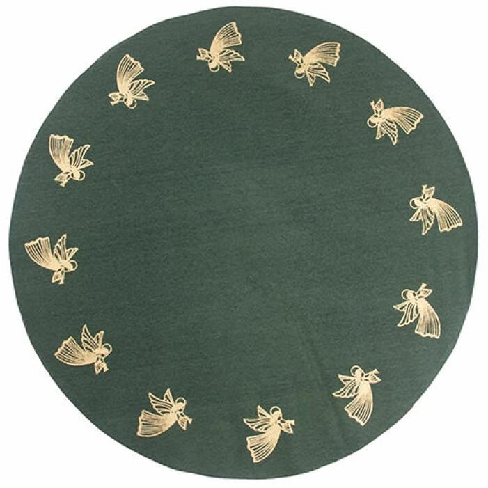 grön julgransmatta med guld från pluto produkter