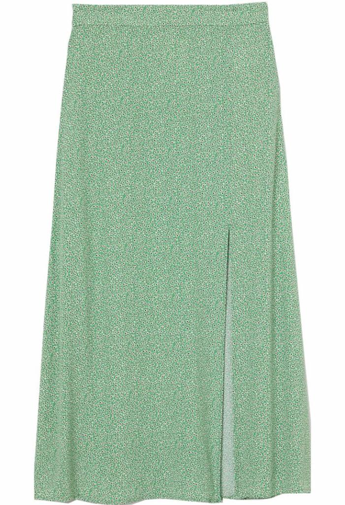 grön blommig midikjol från H&M