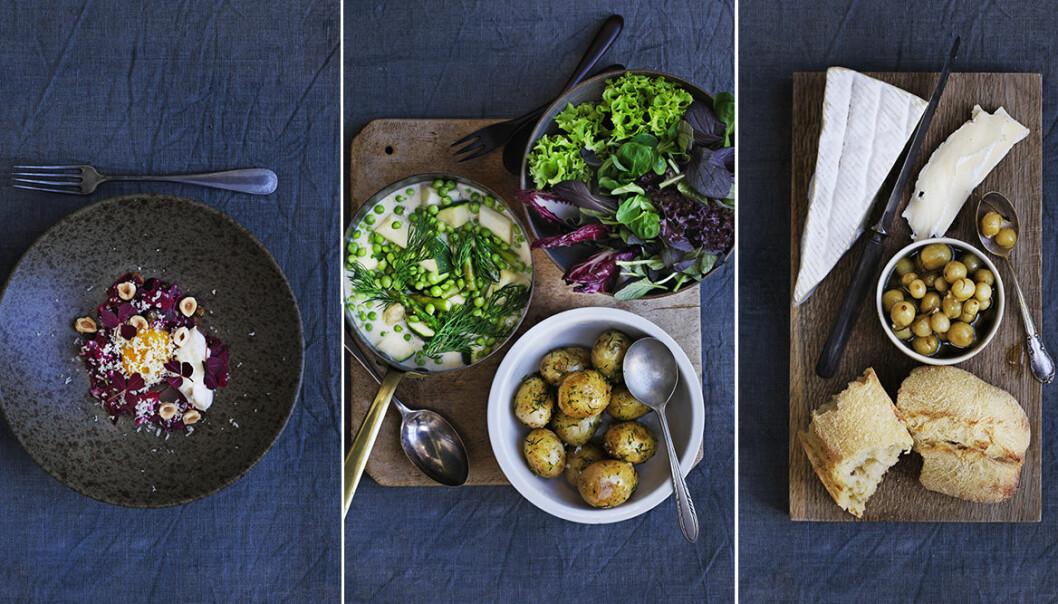 Recept lyxig, vegetarisk trerätters meny med nya smaker.