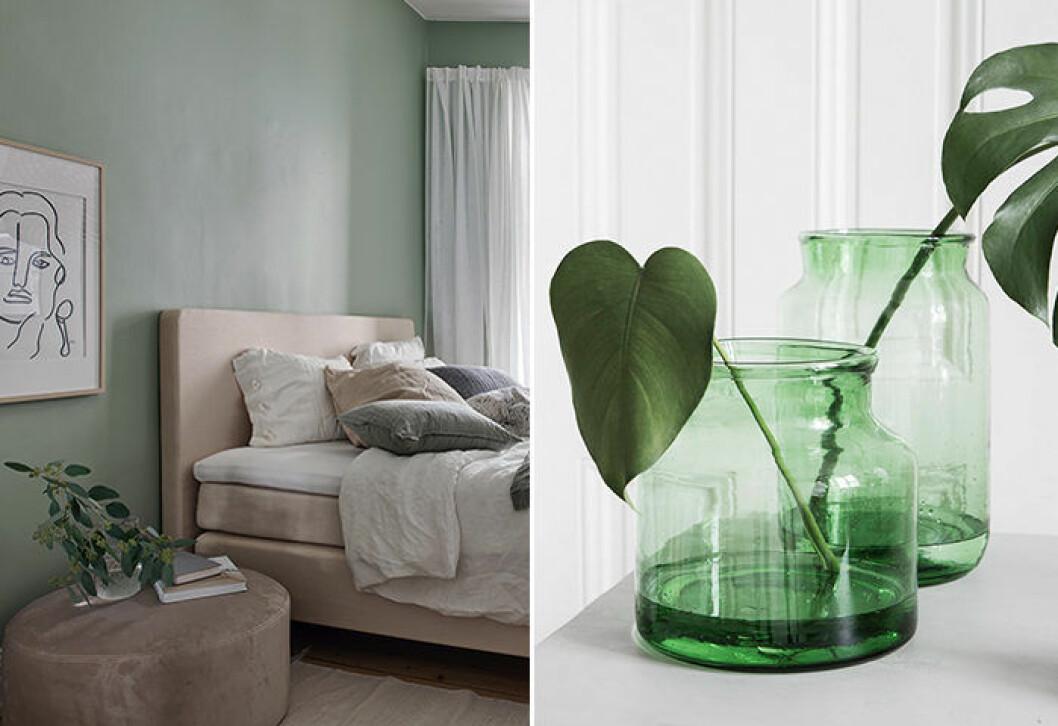 gröna detaljer och inslag är favoriter i den skandinaviska inredningsstilen