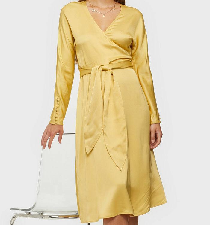 gul omlottklänning