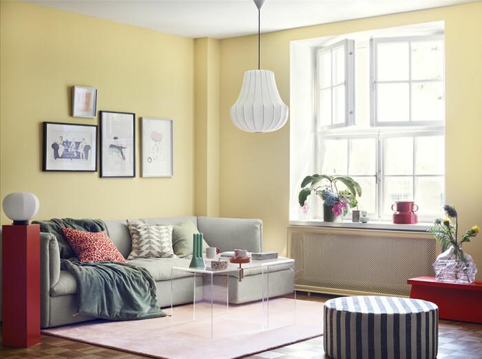 gula väggar vardagsrum inspiration