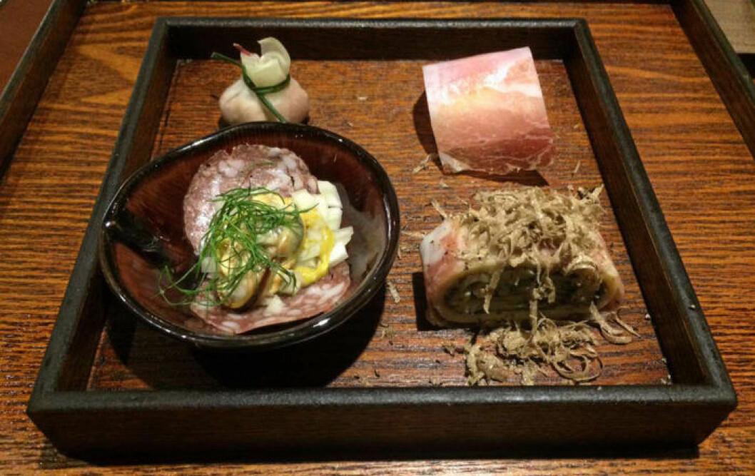 Fyra smakbitar från Omakase köttslöjd. Foto: Krogkommissionen