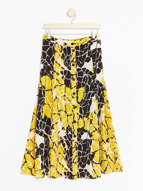 Gulmönstrad medellång kjol