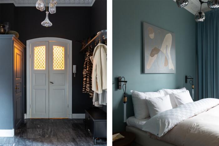 Hall och sovrum i Petra Tungårdens lägenhet