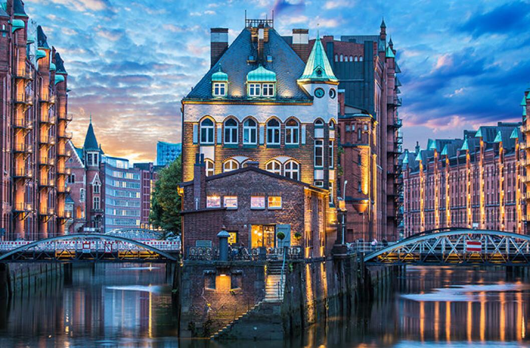 Vacker vy av Hamburg, Tyskland
