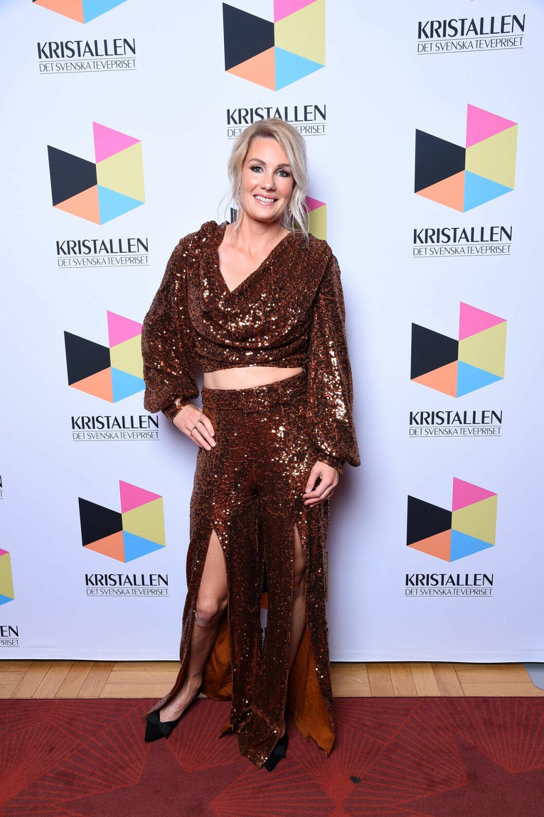 Hanna Marklund på röda mattan på Kristallen 2020