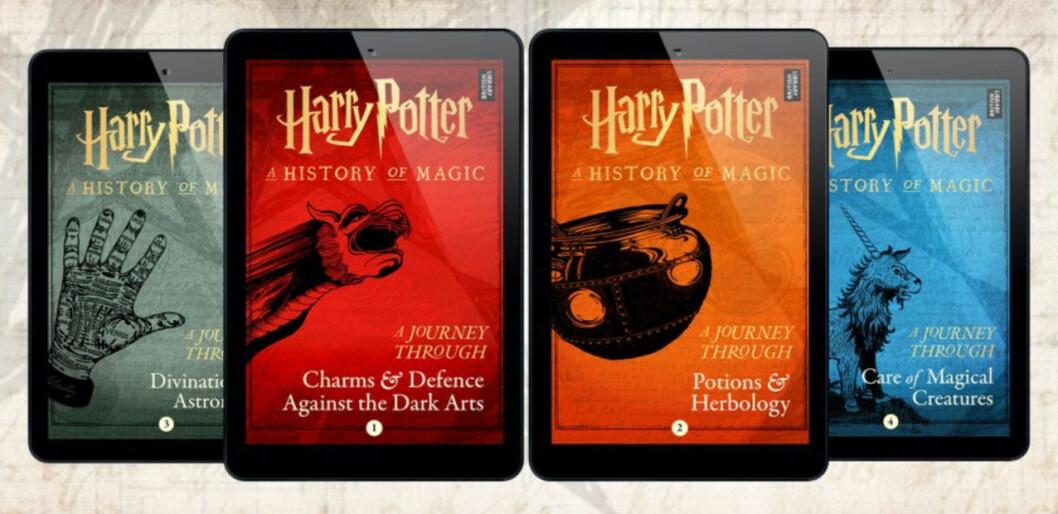 De fyra nya e-böckerna om Harry Potters magiska värld.