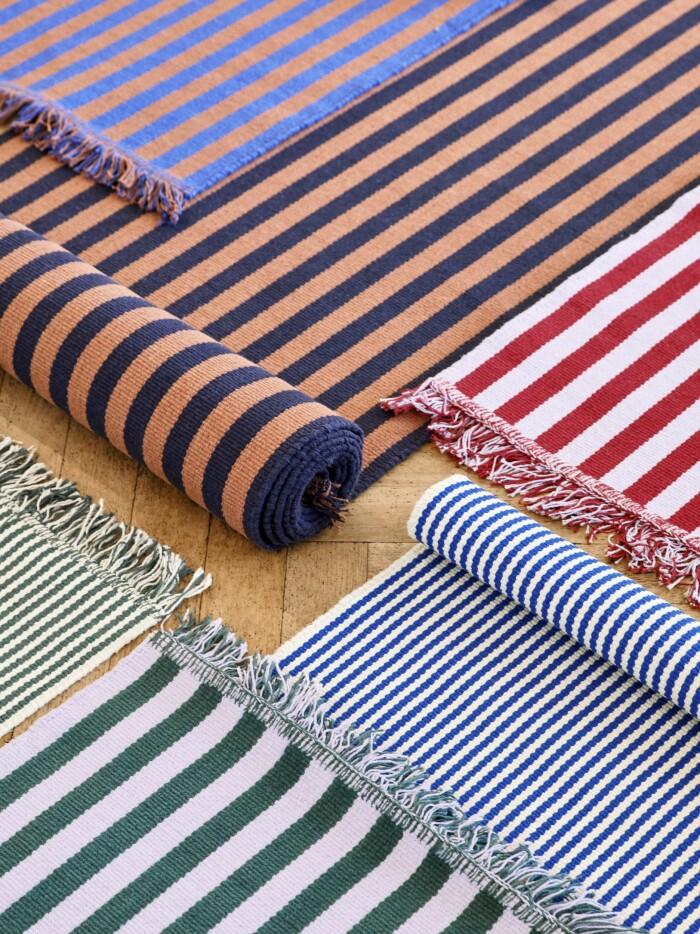 Nyheter inredning Elle Decoration randiga mattor Hay