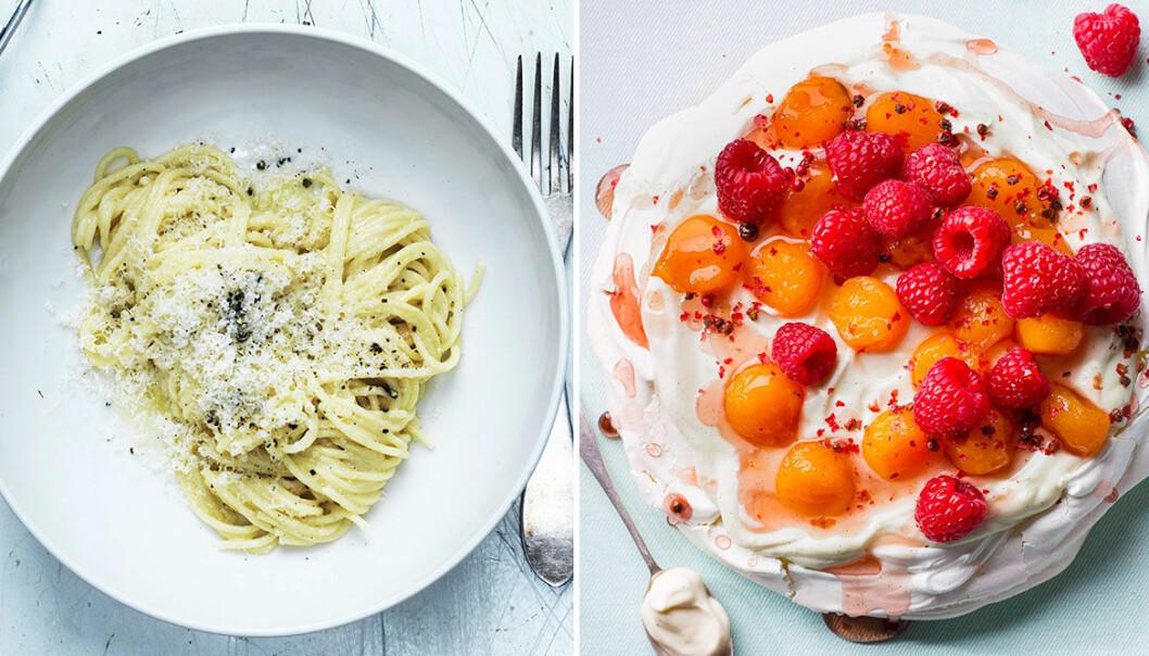 Enkel och elegant meny med pasta och pavlova.