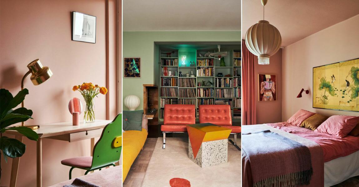Kika in i ett färgstarkt och kreativt hem med pasteller på Södermalm i Stockholm