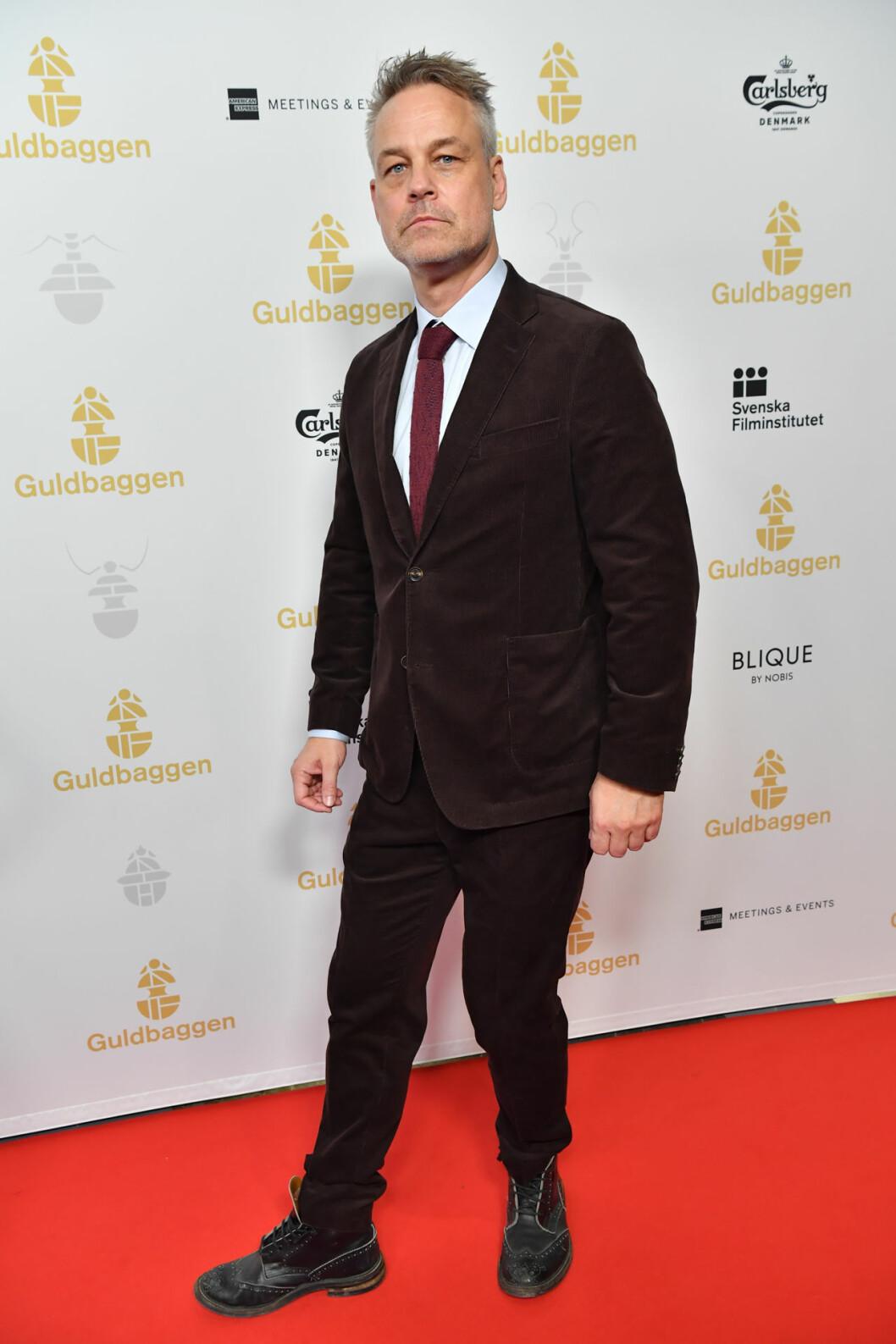Henrik Schyffert på röda mattan på Guldbaggegalan 2020