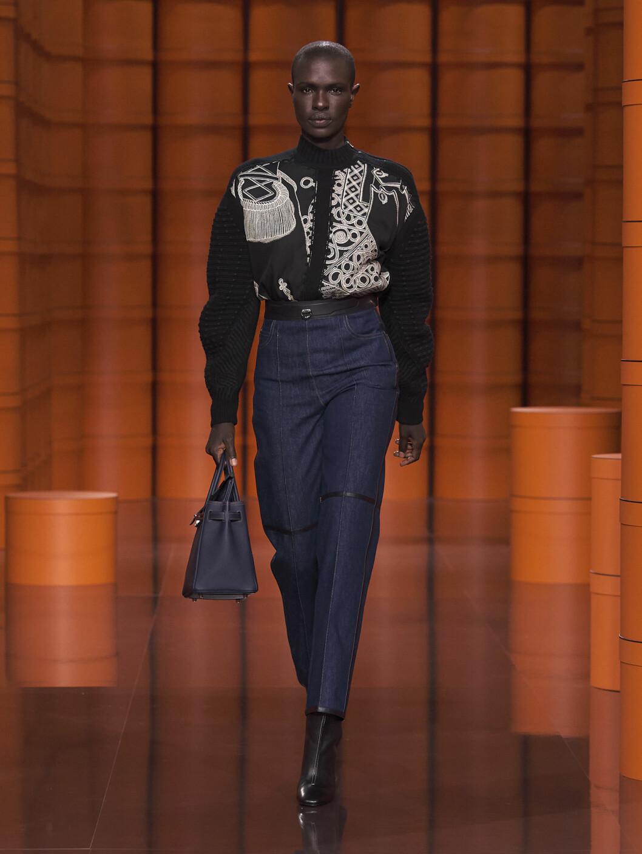 rå, otvättade jeans Hermès