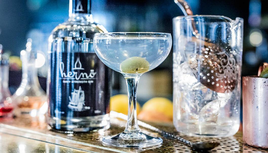 Klassisk Dry Martini med Hernö Gin.