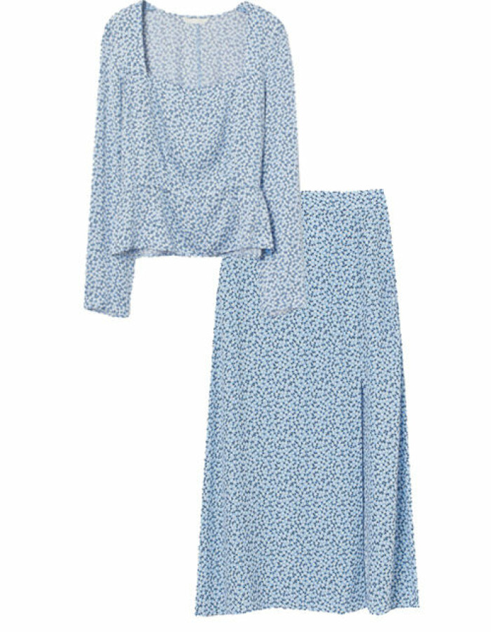 blått sett dam kjol blus