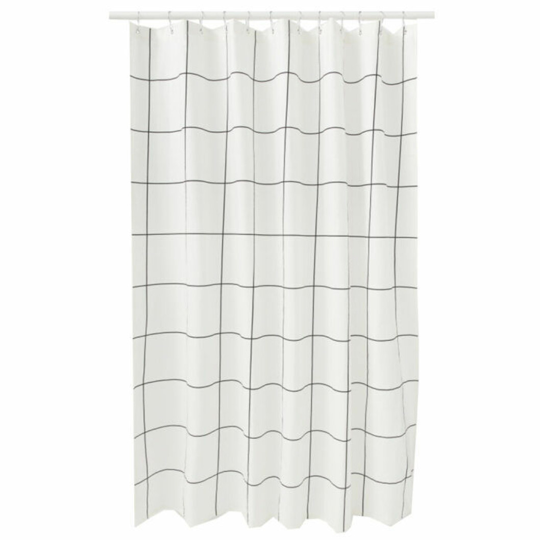 duschdraperi med stora rutor