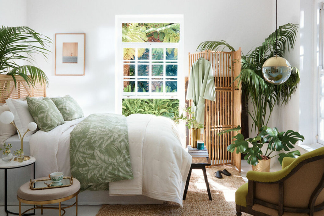 Sovrum i grönt och naturmaterial hos H&M Home 2020