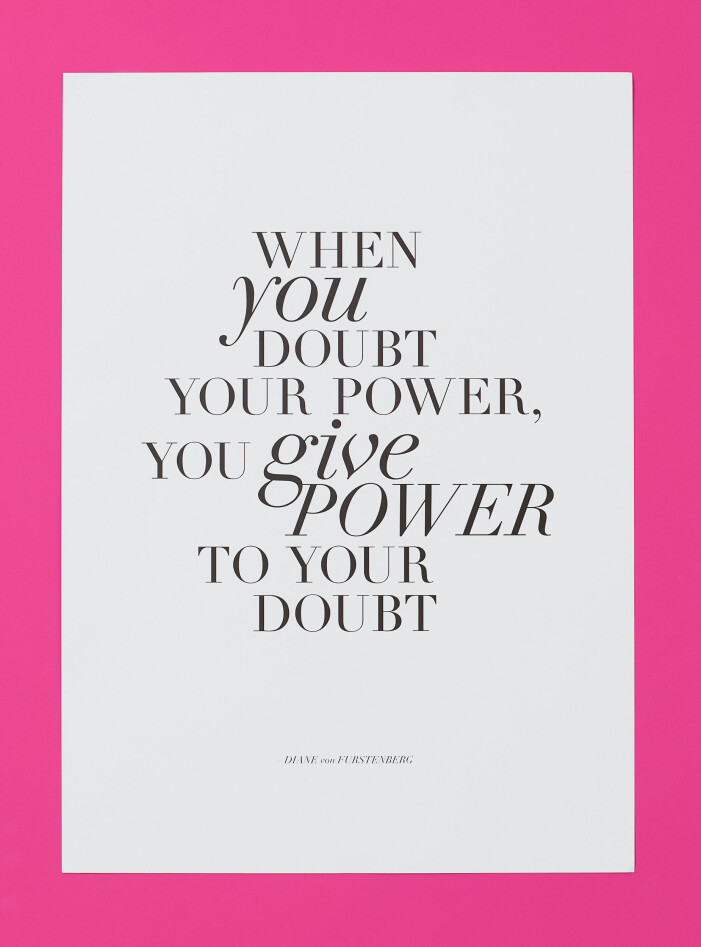 H&M home x Diane von Furstenberg vit poster med citat