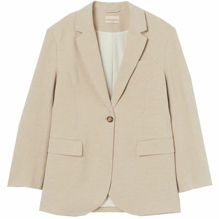 beige kavaj i silke och linne från H&M