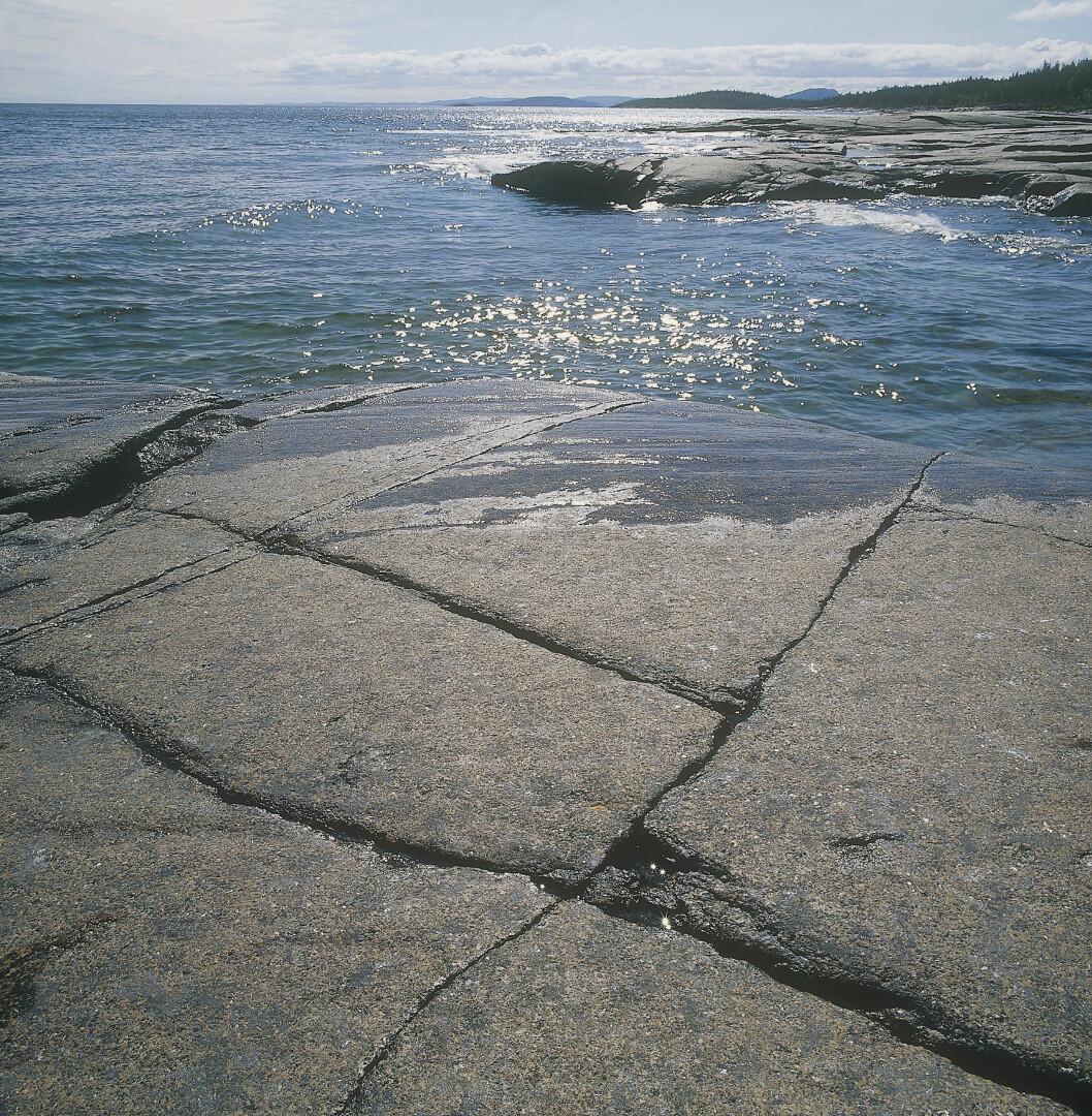 Soliga klippor och glittrande hav i Rotsidan