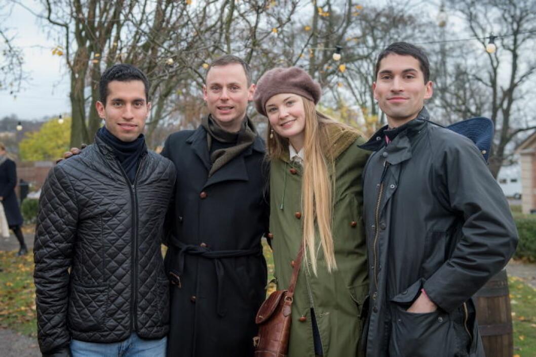 Oliver Andersson, Walter Nunez och Inan Nunez med flickvän.