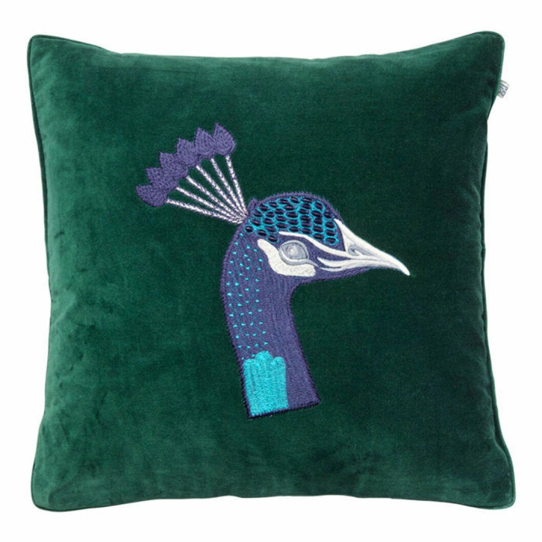 Elegant, mörkgrön sammetskudde med påfågelsmotiv