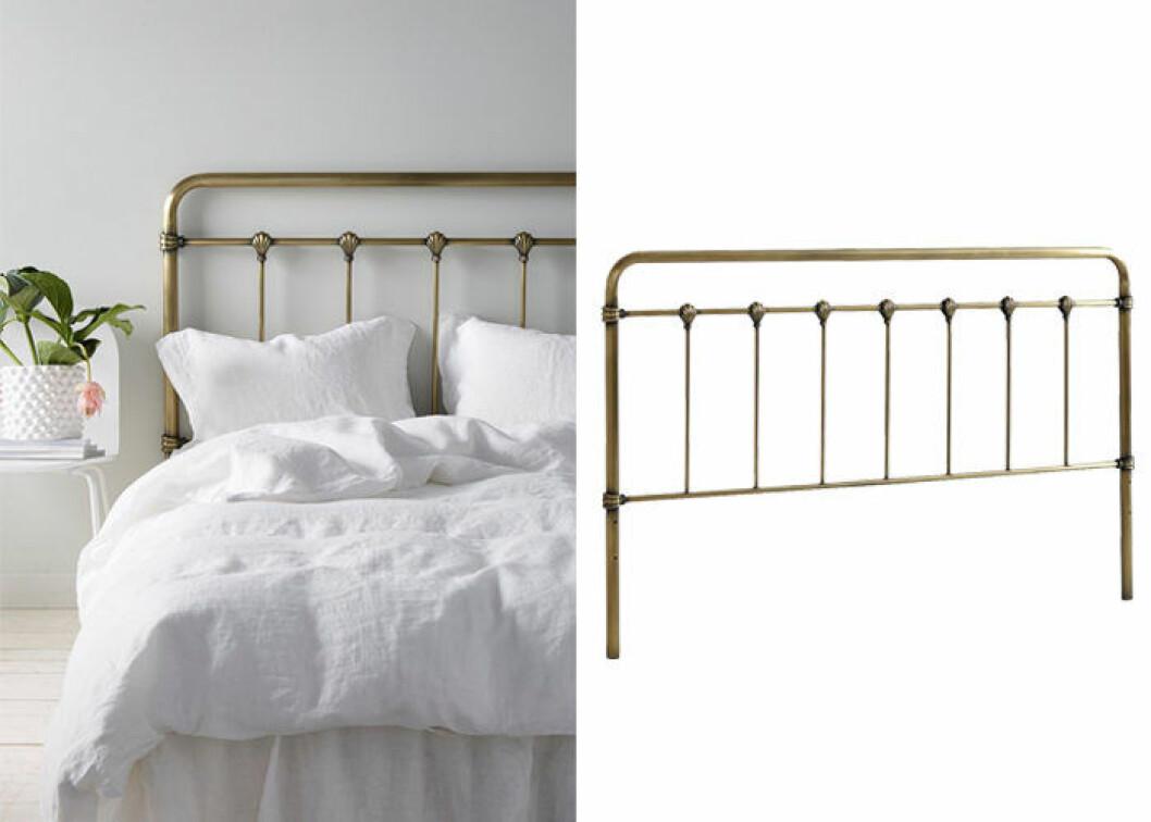Sänggavel i industriell stil gjord av antikmässingsfärgad metall