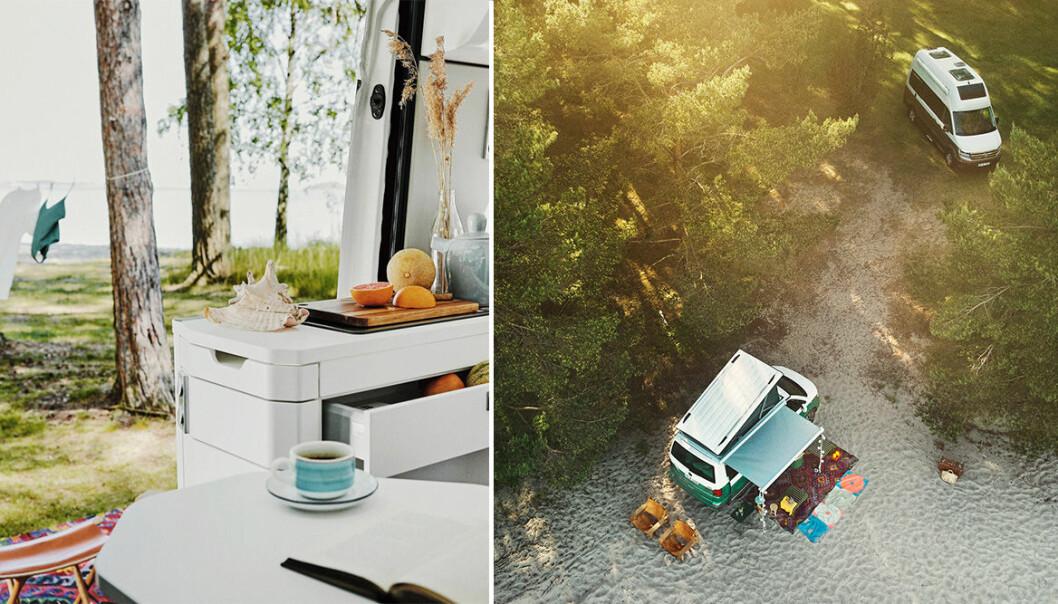 Strandcamping och interiörbild husbilen