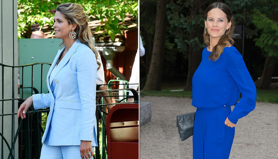 Madeleine och Sofia i blåa kläder