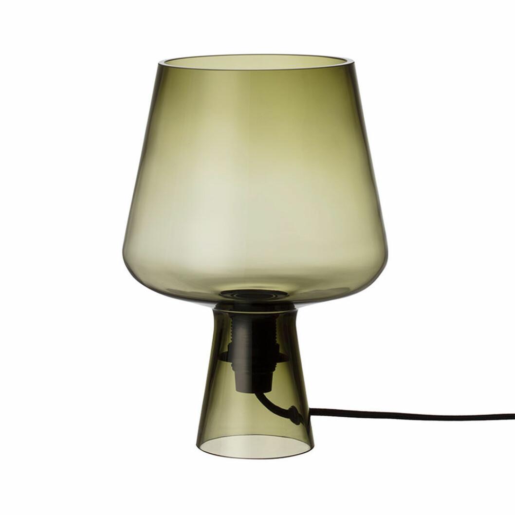 Bordslampa i grönt tonat glas från Iittala
