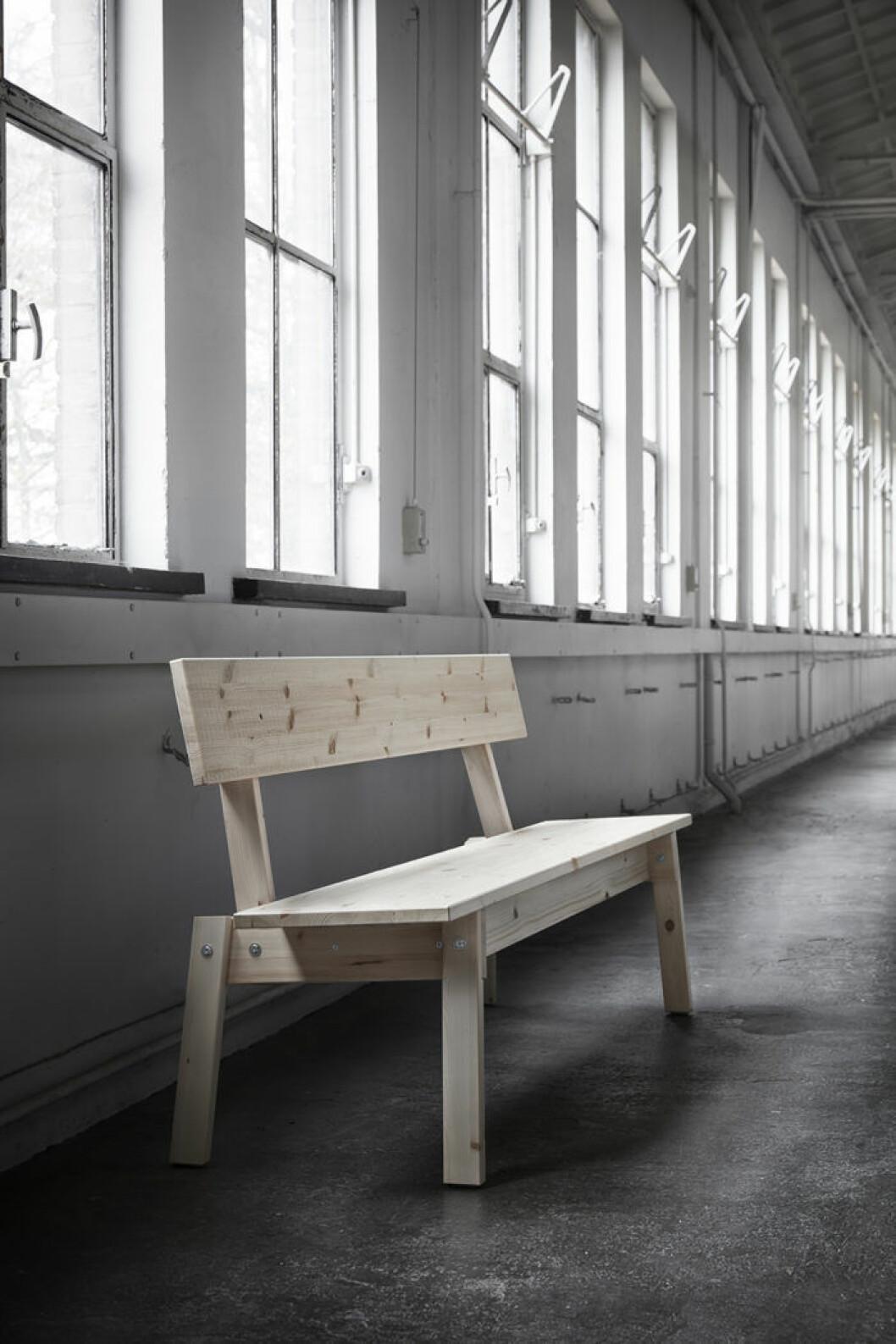 Ikeas kollektion Industriell, träbänk