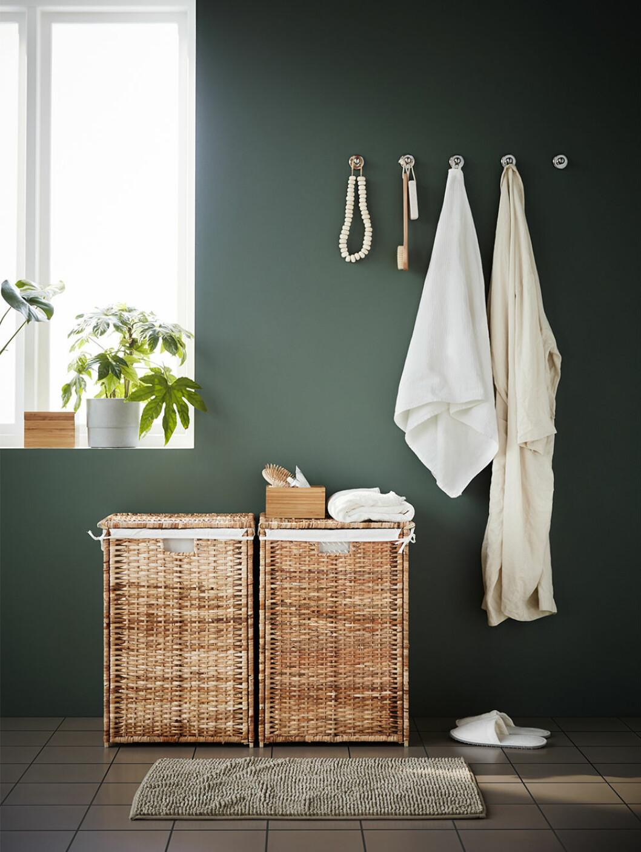Tvättkorgar i naturmaterial från Ikea
