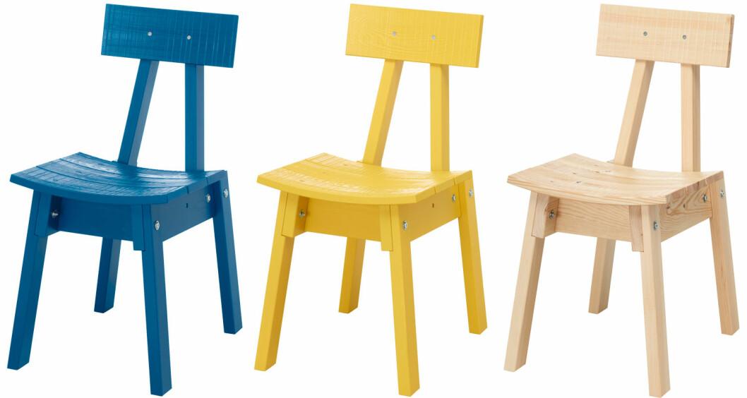 Trästolar i gul, blå och ek, Ikea