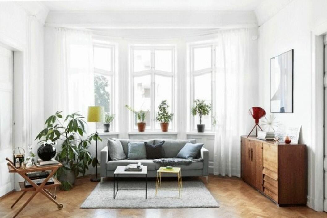 Vardagsrummet i lägenheten.