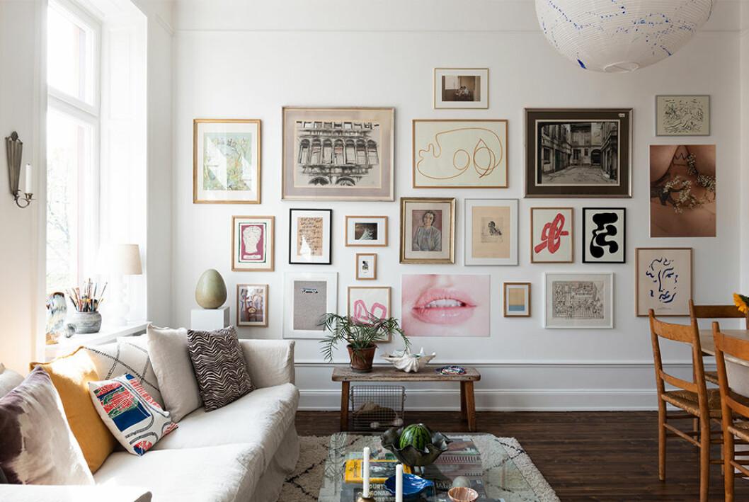 Inspirerande tavelvägg med motiv från Wall of Art