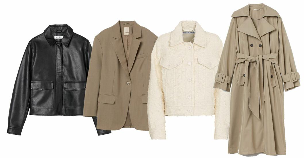 plock med jackor. Skinnjacka från Wera, beige kavaj från H&M, vit kort jacka från Acne studios och beige trenchcoat från H&M.