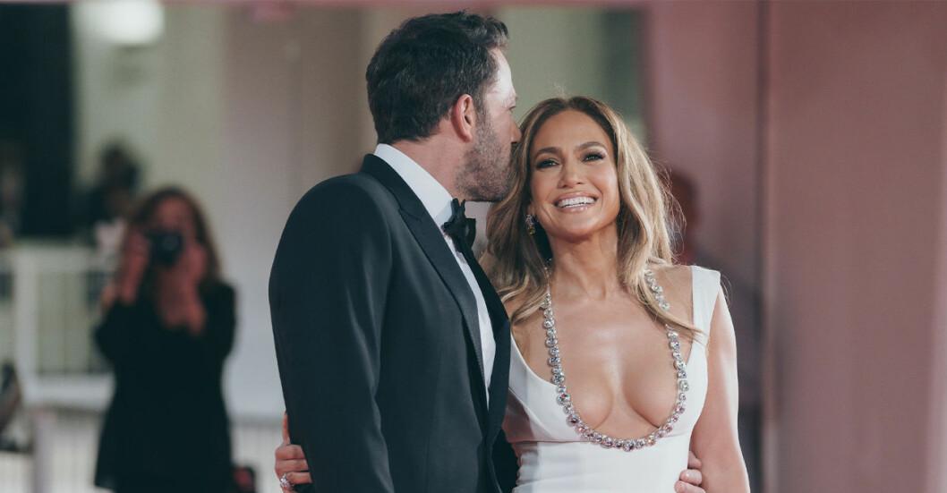 Jennifer Lopez och Ben Affleck på premiären av The Last Duel